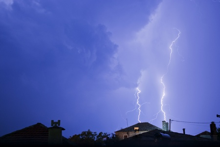 Thunderstorm with lightening at night. photo