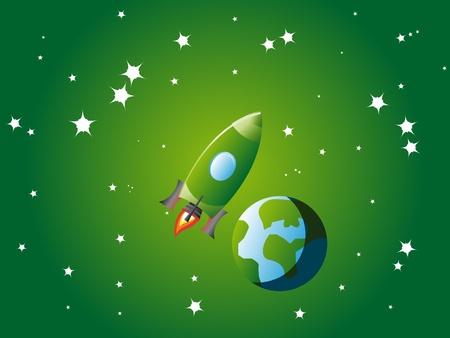 Small green rocket orbiting little stylized planet Earth in green universe