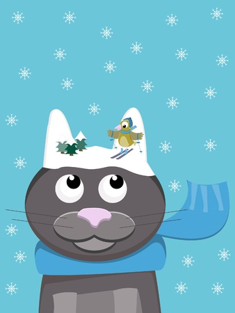 cute cat with scarf during wintertime with snowy ears on which a bird is skiing. Pun on Words: snow-cat  Vector