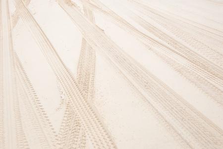 Tracks of 4WD on Beach photo