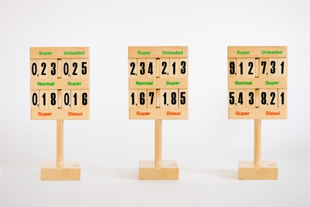 Wooden signs with numbers representing past present and future level of oil  fuel price photo