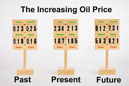 high price of oil: Wooden signs with numbers representing past present and future level of oil  fuel price Stock Photo