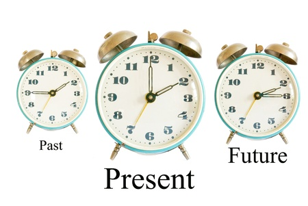 timezone: three different clocks showing different times representing past present future; time concept