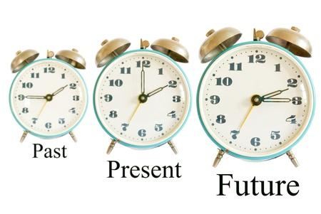 three different clocks showing different times representing past present future; time concept photo