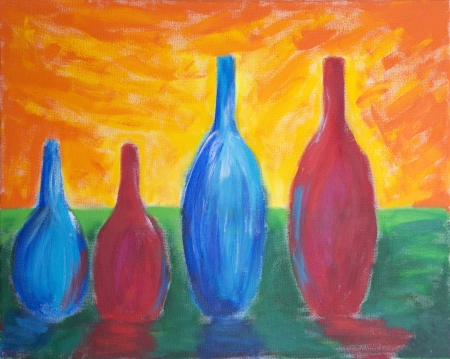 Painting of four different sized bottles with reflection and bright sky photo
