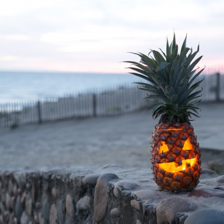 Tropical Jack O Lantern made out of pinapple
