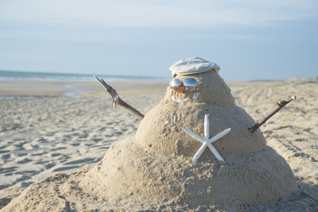Snowman On Beach with shells as mouth and sun glasses