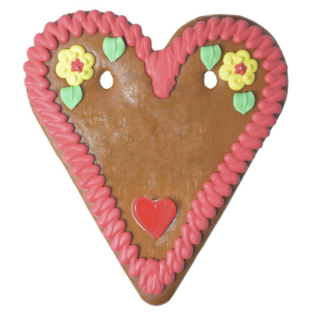 Gingerbread heart German october fest copy space isolated Stock Photo