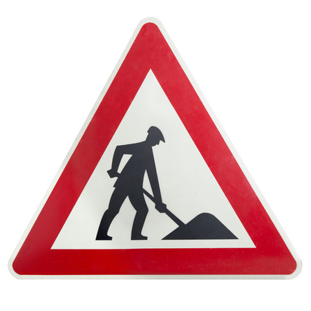 Construction road sign isolated hazard building site equipment Stock Photo