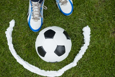 Soccer player foam spray free kick line