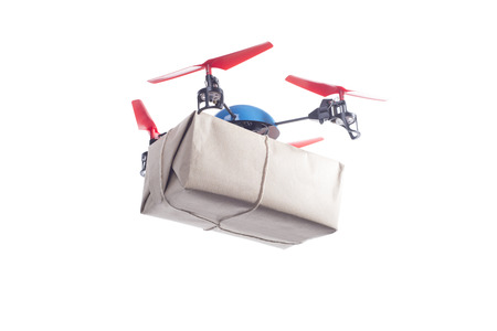 autonomic: Drone with packet. Instant shipping concept Stock Photo