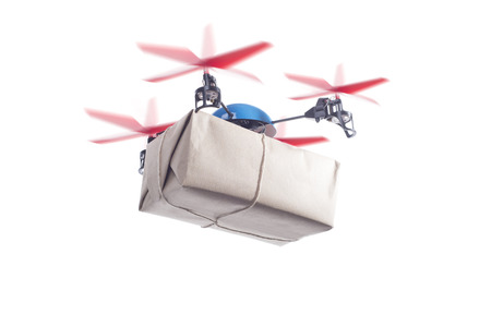 autonomic: Delivery drone with packet flying. instant shipping concept, same day delivery Stock Photo