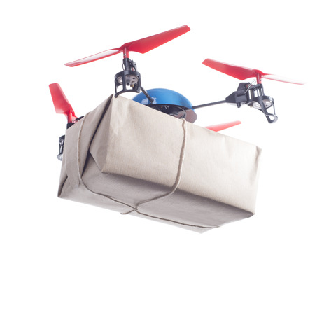 Delivery drone with packet flying. Same day delivery concept