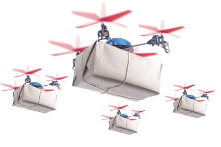 패키지를 제공하는 무인 비행기의 떼. 더 고객 만족 개념 당일 배송