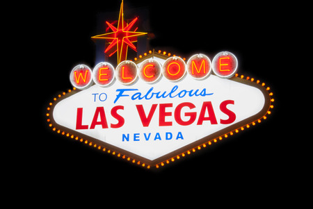 las vegas strip: welcome to fabolous las vegas nevada light sign billboard famous night Stock Photo