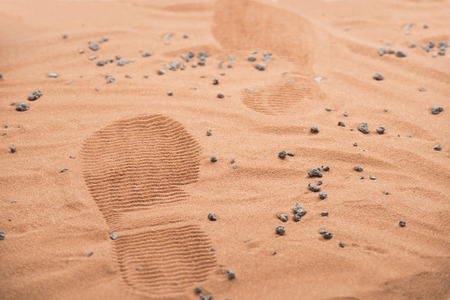 interplanetary: two footprints from human astronaut on marsian surface