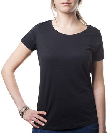 women wearing plain black shirt isolated on white, template with clipping path Imagens - 37605753