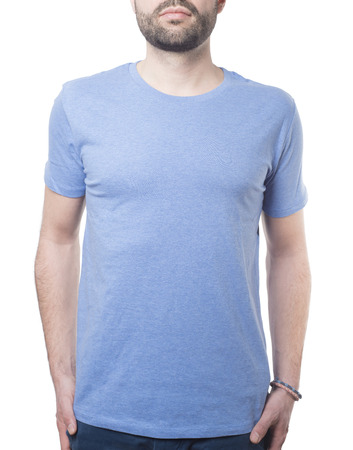 blue t-shirt clothing template with male upper body isolated on white with clipping path for background and garment Imagens - 37605754