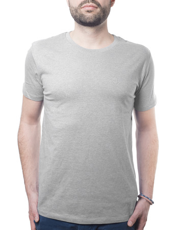 fashion template for your design guy wearing grey tshirt isolated on white with clipping path for background and garment