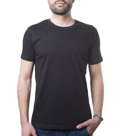 he likes wearing his black shirt isolated on white with clipping path for background and garment Imagens - 37605756