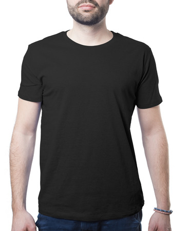 black tshirt template of man waring blank classic shirt isolated on white with clipping path for background and garment Imagens - 37605757