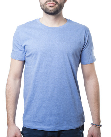 blue tshirt with copy space for your design worn by attractive male model isolated on white with clipping path for background and garment Imagens - 37605758