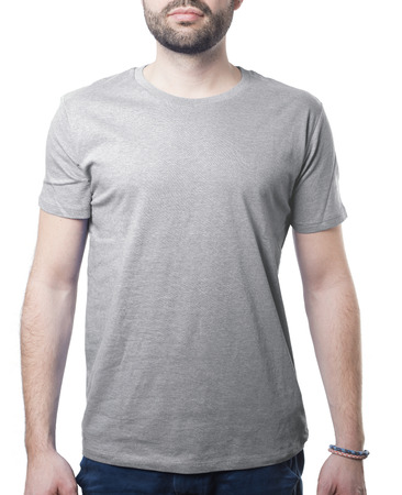 grey tshirt template of man waring blank classic shirt isolated on white with clipping path for background and garment Imagens - 37605760