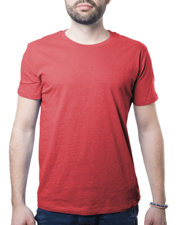 tshirt template of man waring plain red shirt isolated on white with clipping path for background and garment Imagens - 37605762