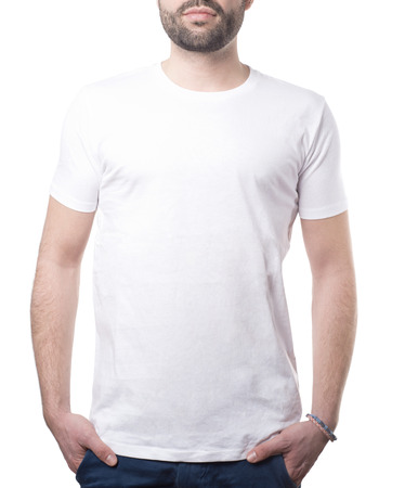 man with classic white shirt isolated on white with clipping path for background and garment Imagens - 37605764