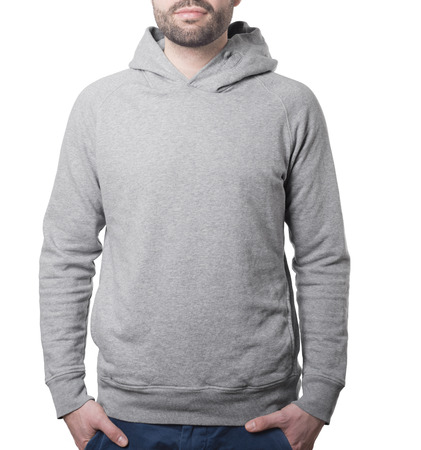 hoody pullover template with male torso isolated on white with clipping path both for background and garment Imagens - 37605765