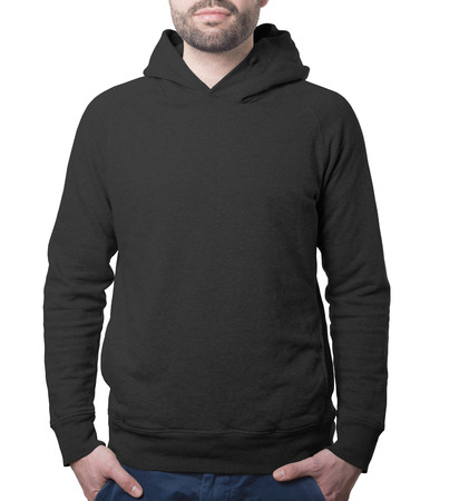black breast: hoody clothing template black with male torso isolated on white with clipping path both for background and garment Stock Photo