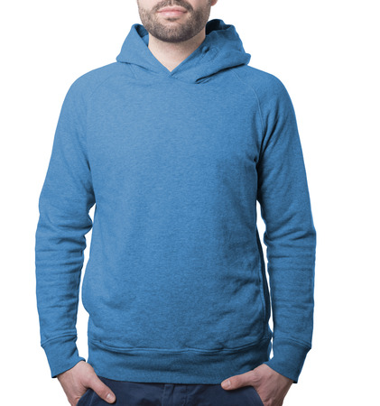 blue plain hoody template with male torso isolated on white with clipping path both for background and garment Imagens - 37605771