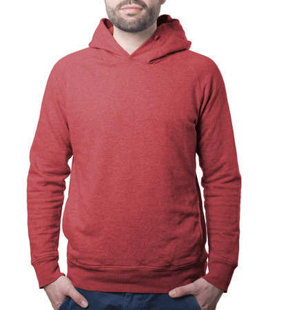 attractive male model clothing template of red hoody isolated on white with clipping path both for background and garment Imagens