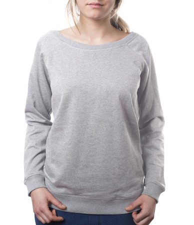 attractive female template pullover in grey isolated on white with clipping path both for background and garment Imagens - 37605790
