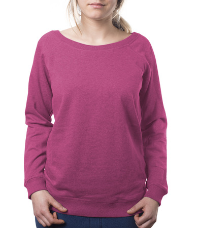 clothing template jumper in pink isolated on white with clipping path both for background and garment