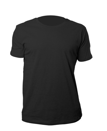 black t shirt: black blank tshirt template isolated on white with clipping path