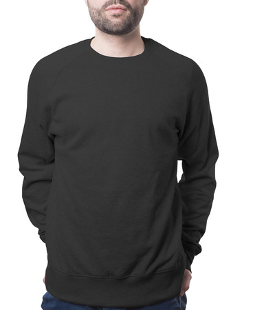 plain black male jumper isolated on white with clipping path both for background and garment Imagens - 37732284