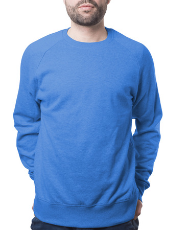 blue pullover on young man template isolated on white with clipping path both for background and garment Imagens