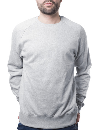 male torso wearing grey sweater template isolated on white with clipping path both for background and garment Imagens