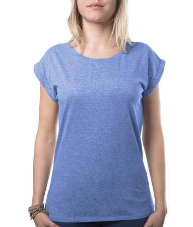 she looks good in her new blue shirt template isolated on white with clipping path both for background and garment Imagens
