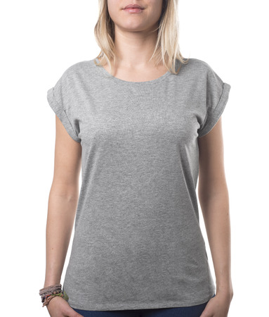 blank grey girly shirt with female upper body isolated on white with clipping path both for background and garment Imagens - 37677900