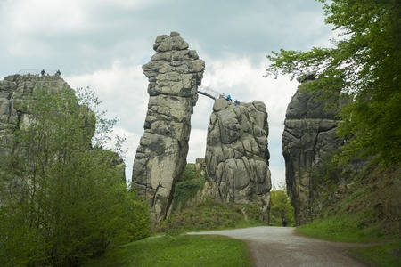 The Externsteine sandstone rockformation in the Teutoburg Forest Horn-Bad Meinberg, Germany
