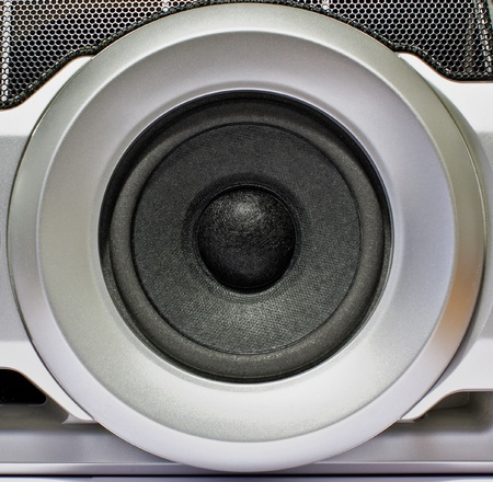 subwoofer: powerfull closeup of gray subwoofer  Stock Photo