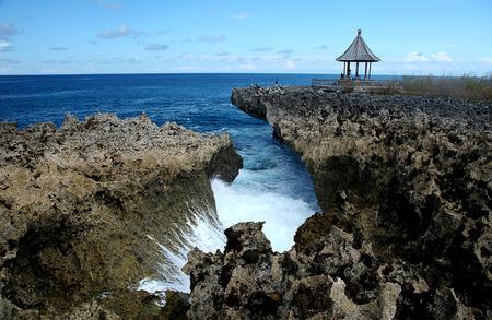 nusa: Water Blow, Nusa Dua coastal Bali, Indonesia Stock Photo