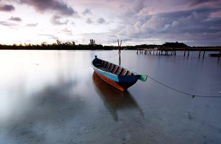 Sampan floating n Mengkabong river, Sabah Borneo
