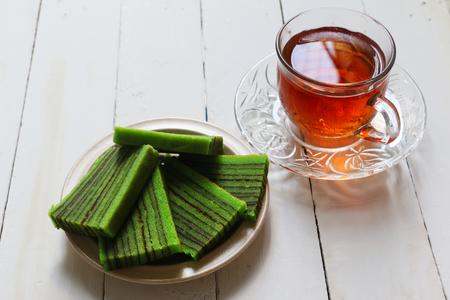Sarawak traditional cake. Kek Lapis and tea Zdjęcie Seryjne