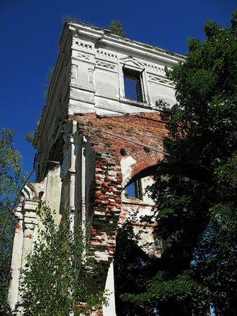 destroyed building old church - Russia, Pskov region, Chernezsovo village photo