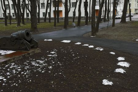 snows: on the left old-time mortar, on lawn little snows spots