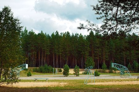 inwardly: atheletic place - a volleyball, basketball, football inwardly pine forest