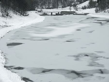 ice dam: winter artificial lake -  city Vitebsk river Vitba